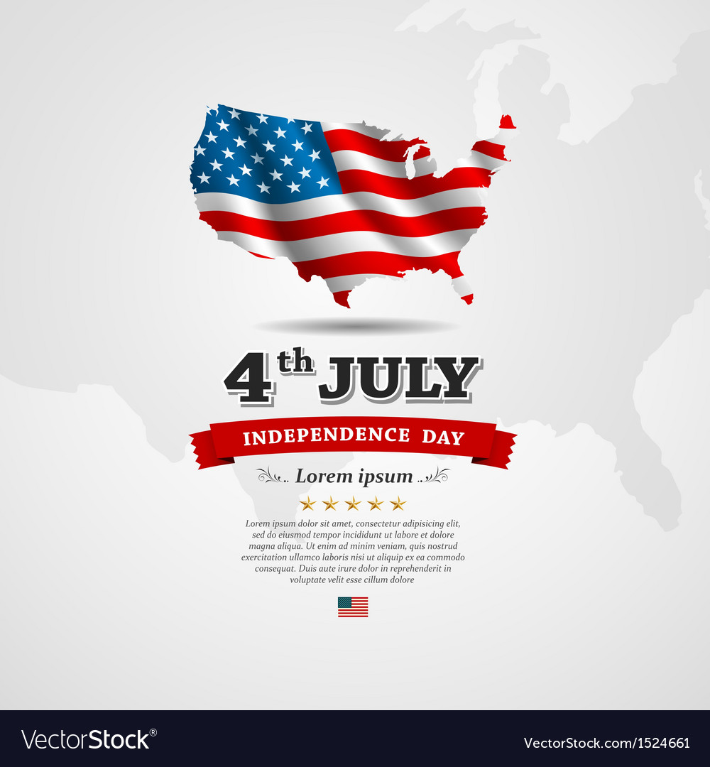 American Flag map for Independence Day vector image