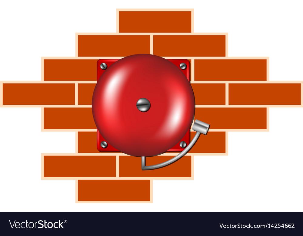 Retro alarm on the brick wall vector image