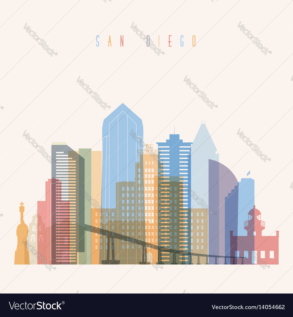 San diego state california skyline detailed silhou vector image