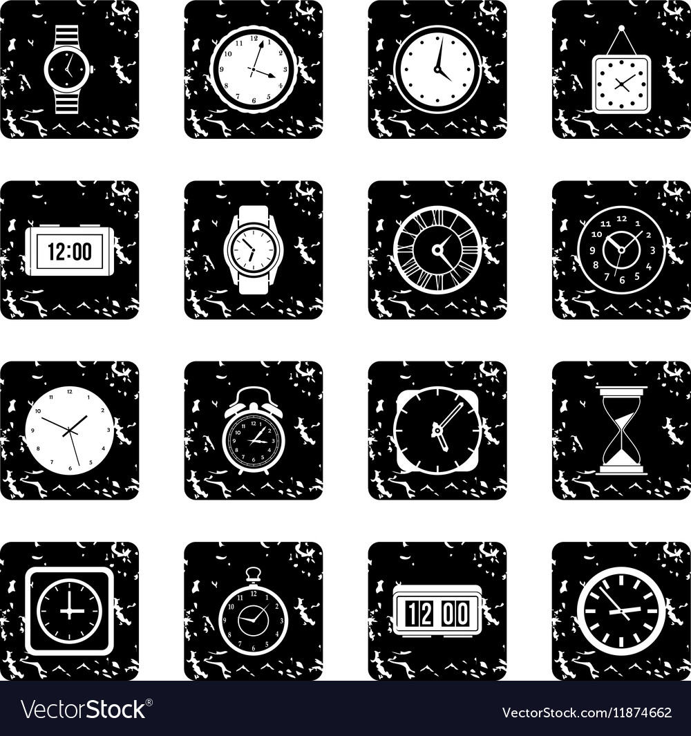Time and Clock set icons grunge style vector image