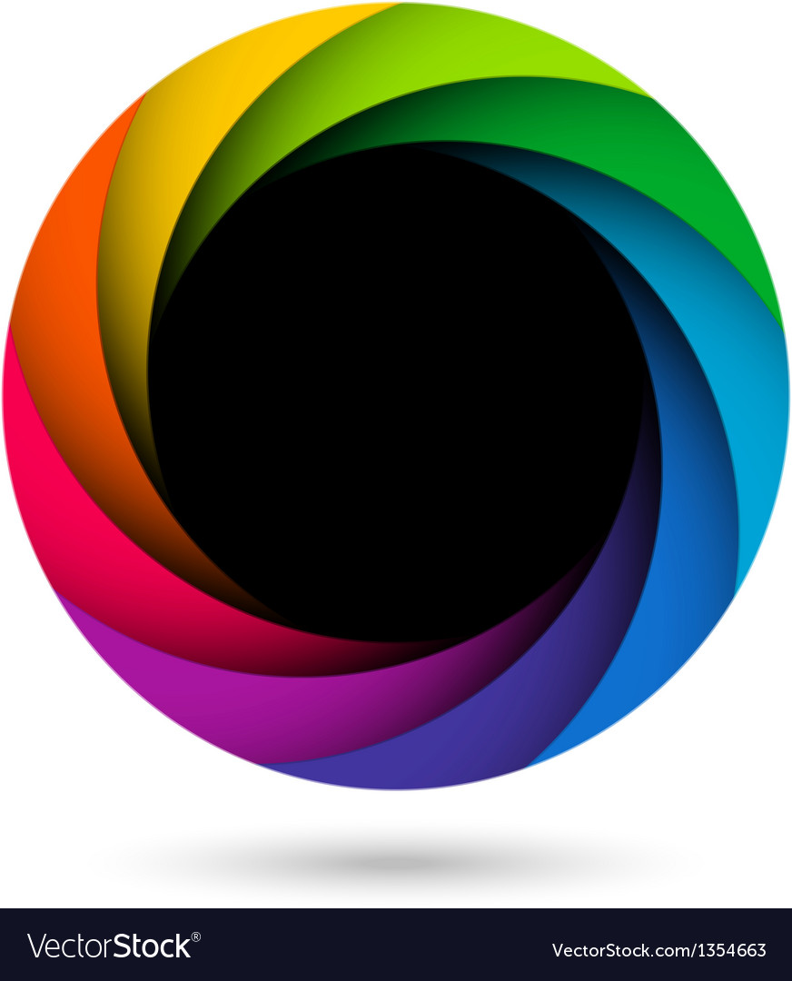 Colorful camera shutter aperture vector image