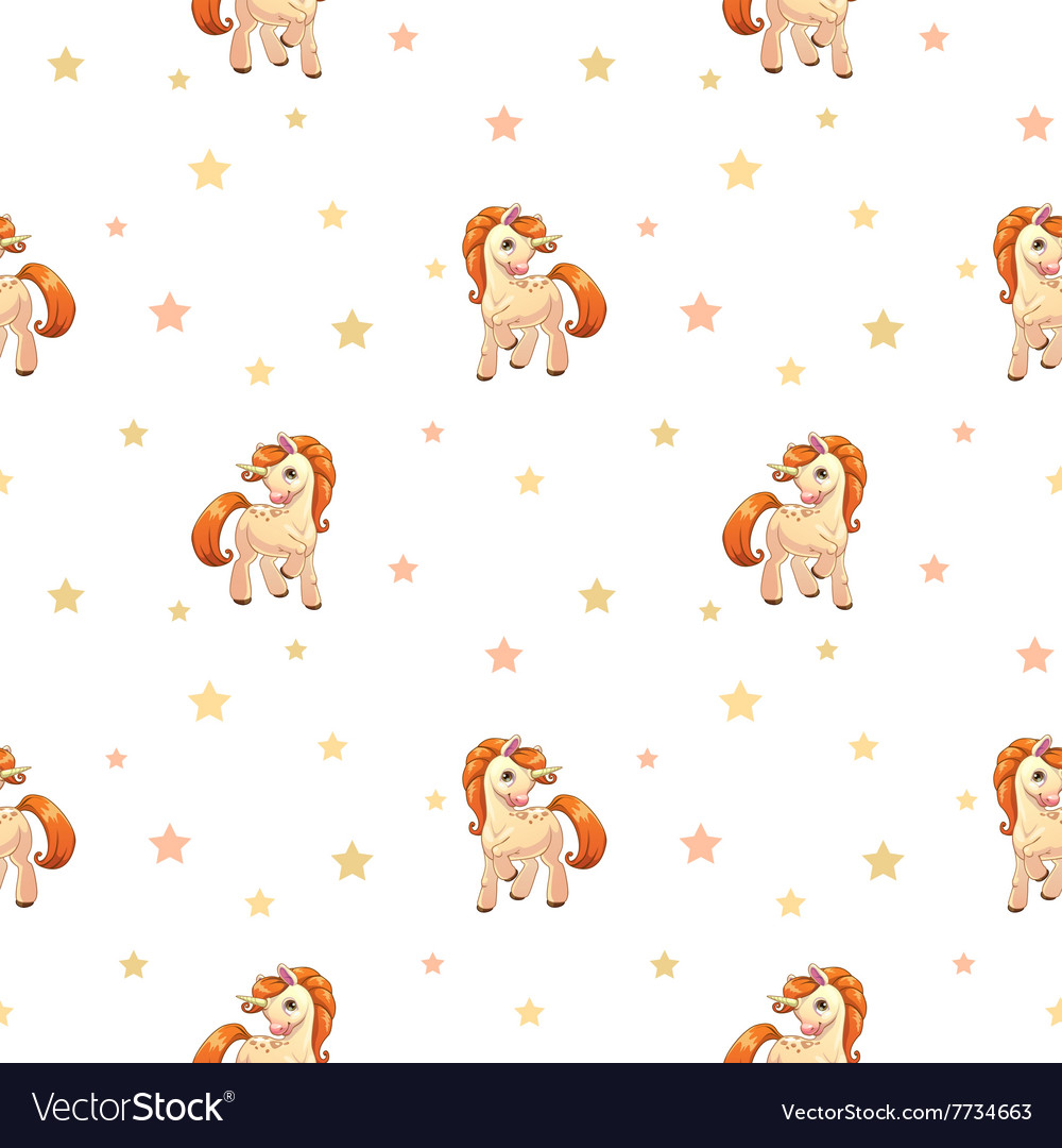 Cute seamless pattern with little cartoon pony vector image