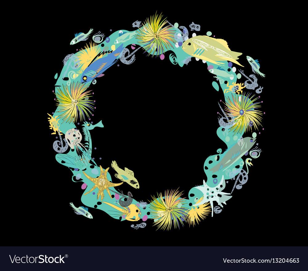 Sealife wreath on black vector image