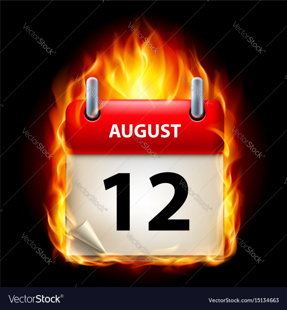 Twelfth august in calendar burning icon on black vector image