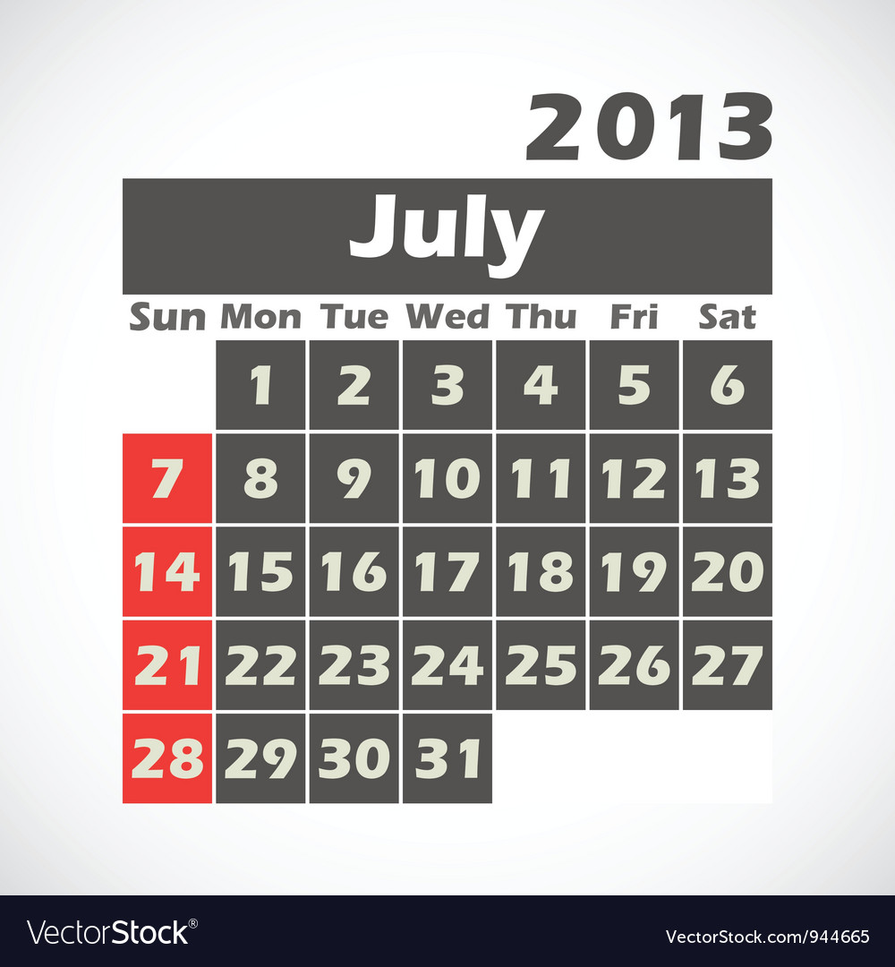 Calendar 2013 July vector image