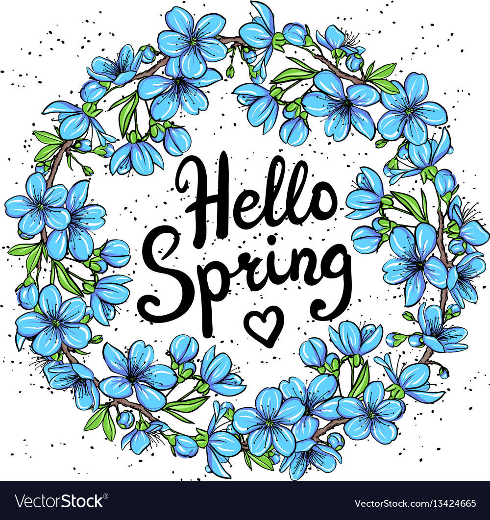 Charmant Hello Spring Greeting Card Vector Image