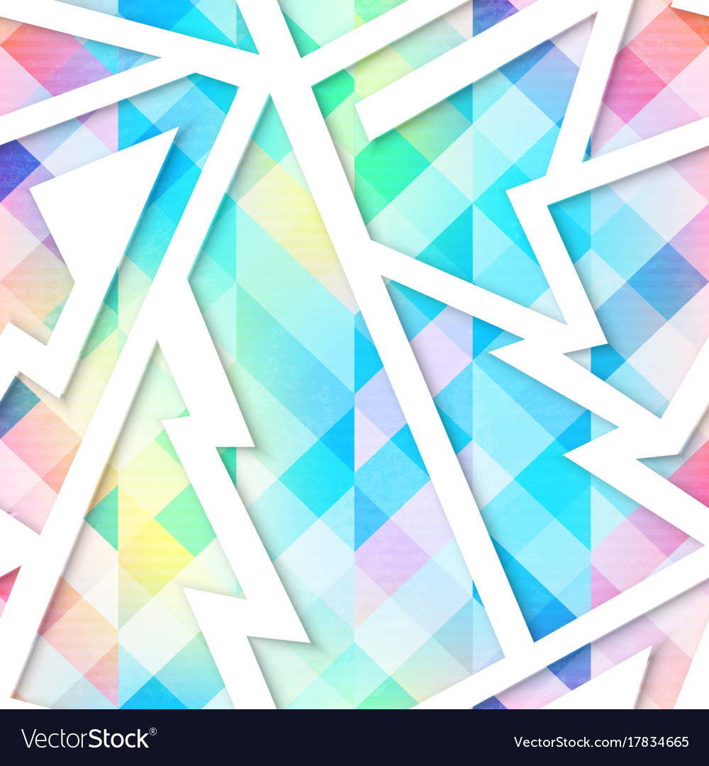 Isometric colored geometric seamless pattern vector image