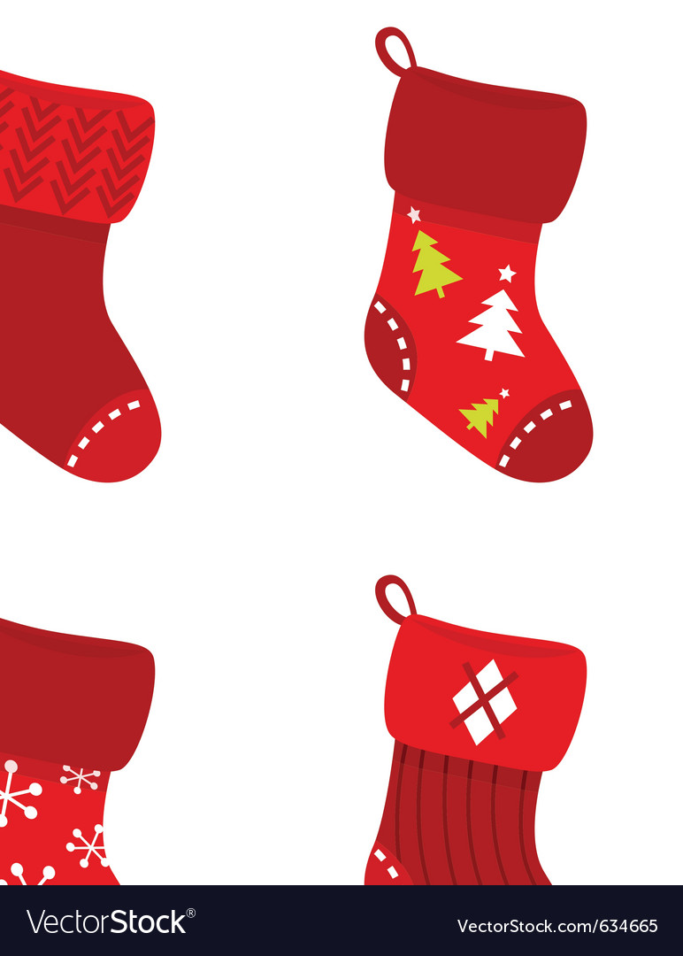 Retro christmas socks vector image