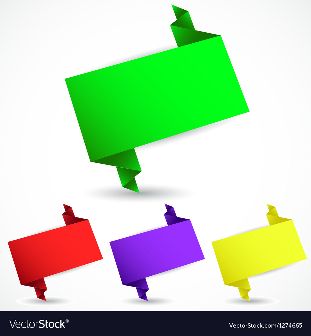 Set of origami speech bubble vector image