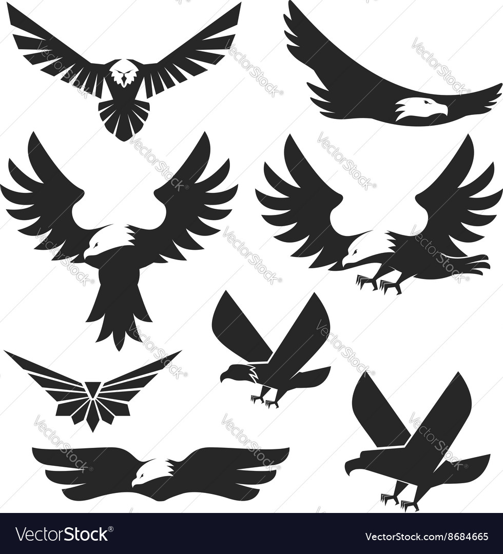 Set of the eagles icons and logo templates vector image