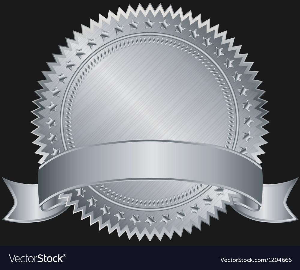 Silver blank label with silver ribbon vector image