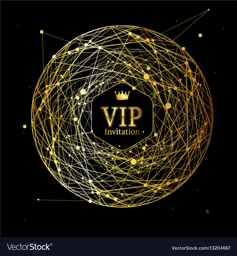 Golden vip round sphere dotted mesh background vector image