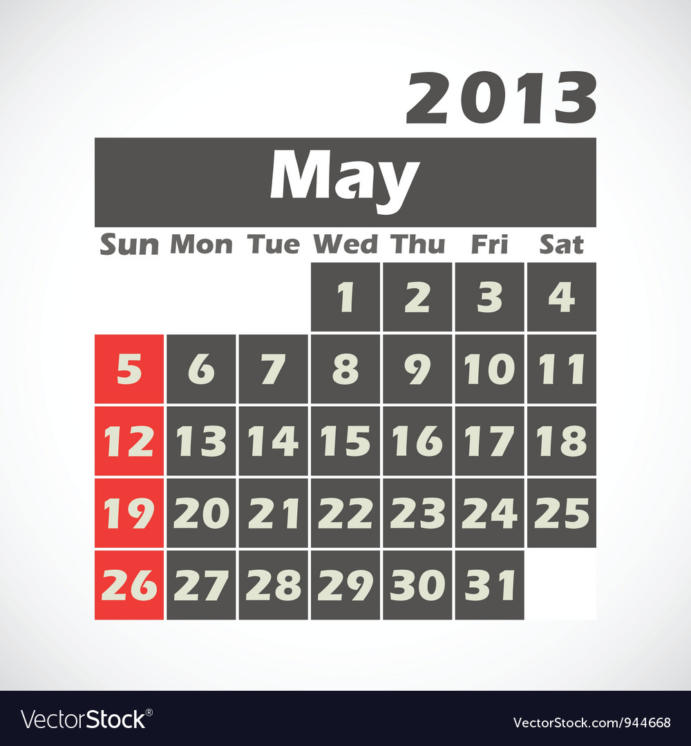 Calendar 2013 May vector image