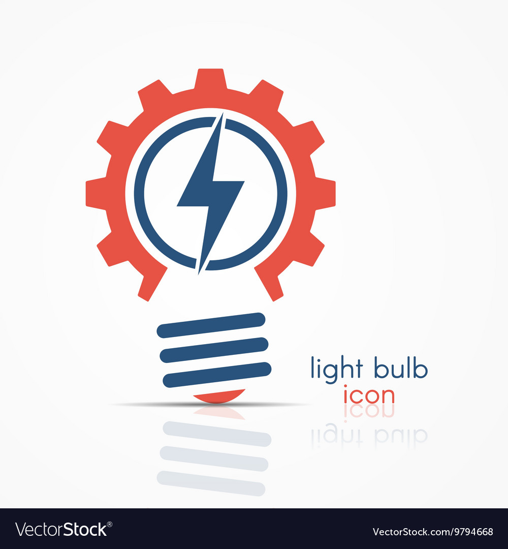 Gear light bulb idea icon with electricity sign Vector Image by ...