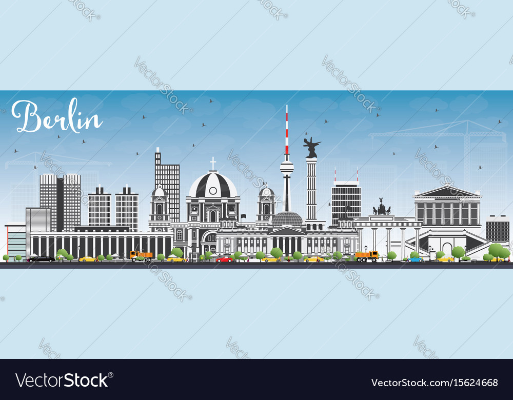 Berlin skyline with gray buildings and blue sky vector image