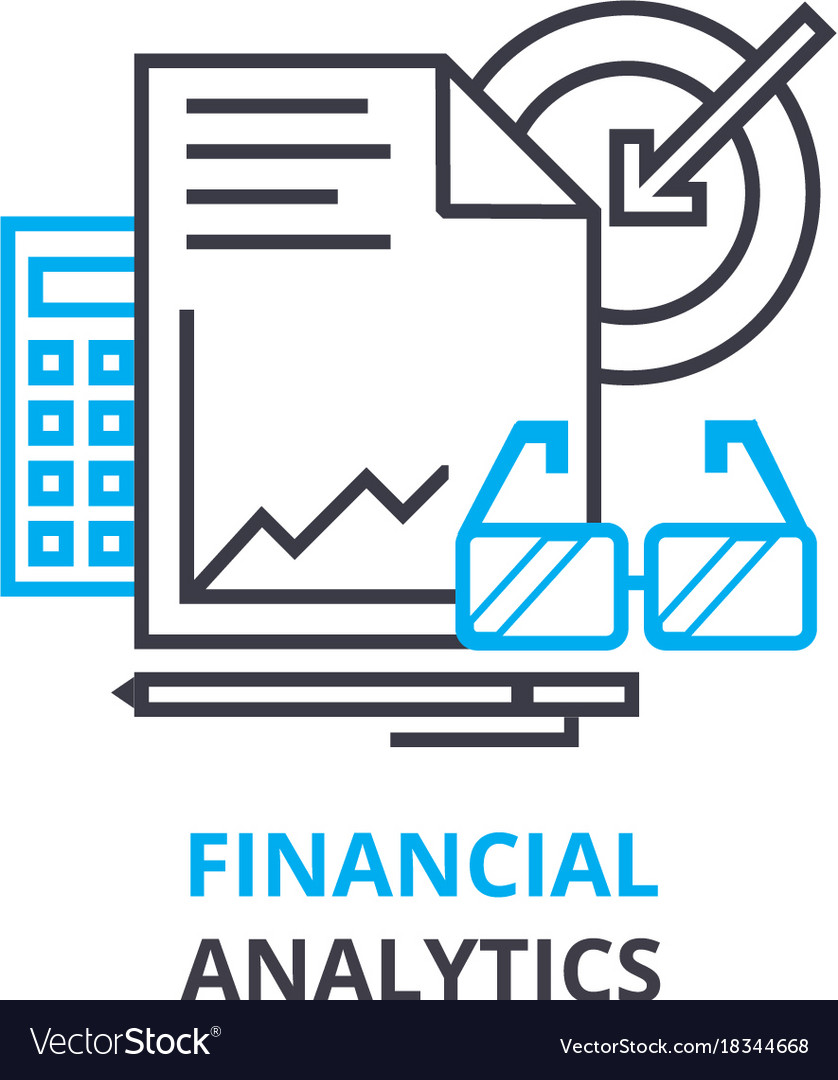 Financial analytics concept outline icon linear vector image