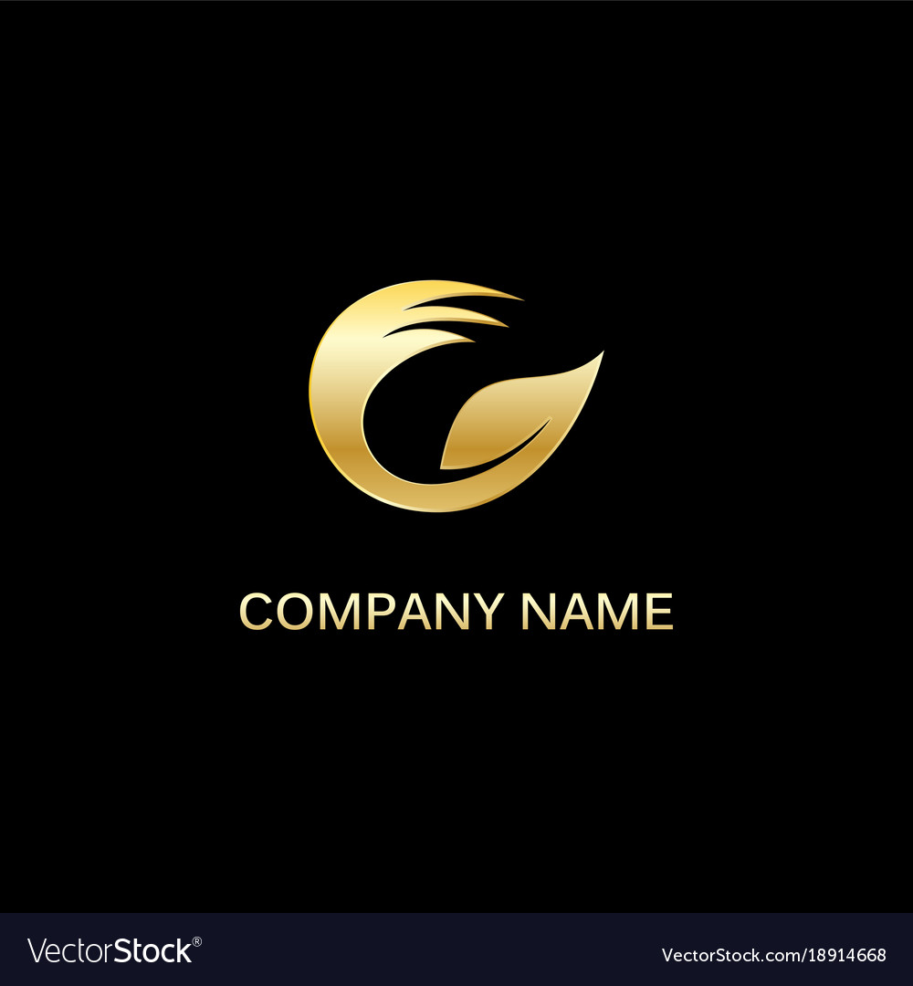Gold leaf circle ecology logo vector image