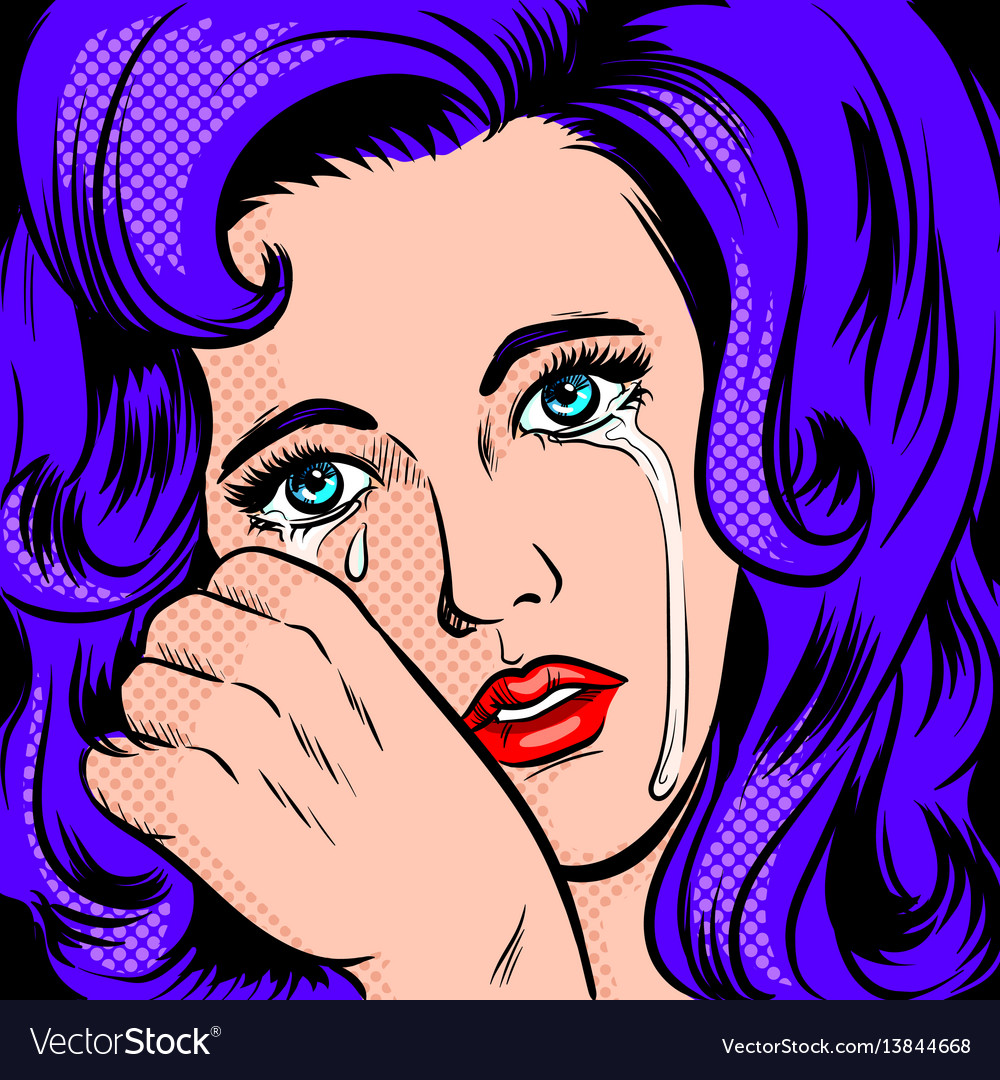 Sad girl crying pop art style vector image