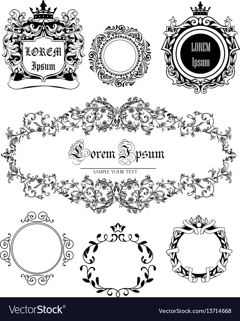 Set with vintage frames vector image