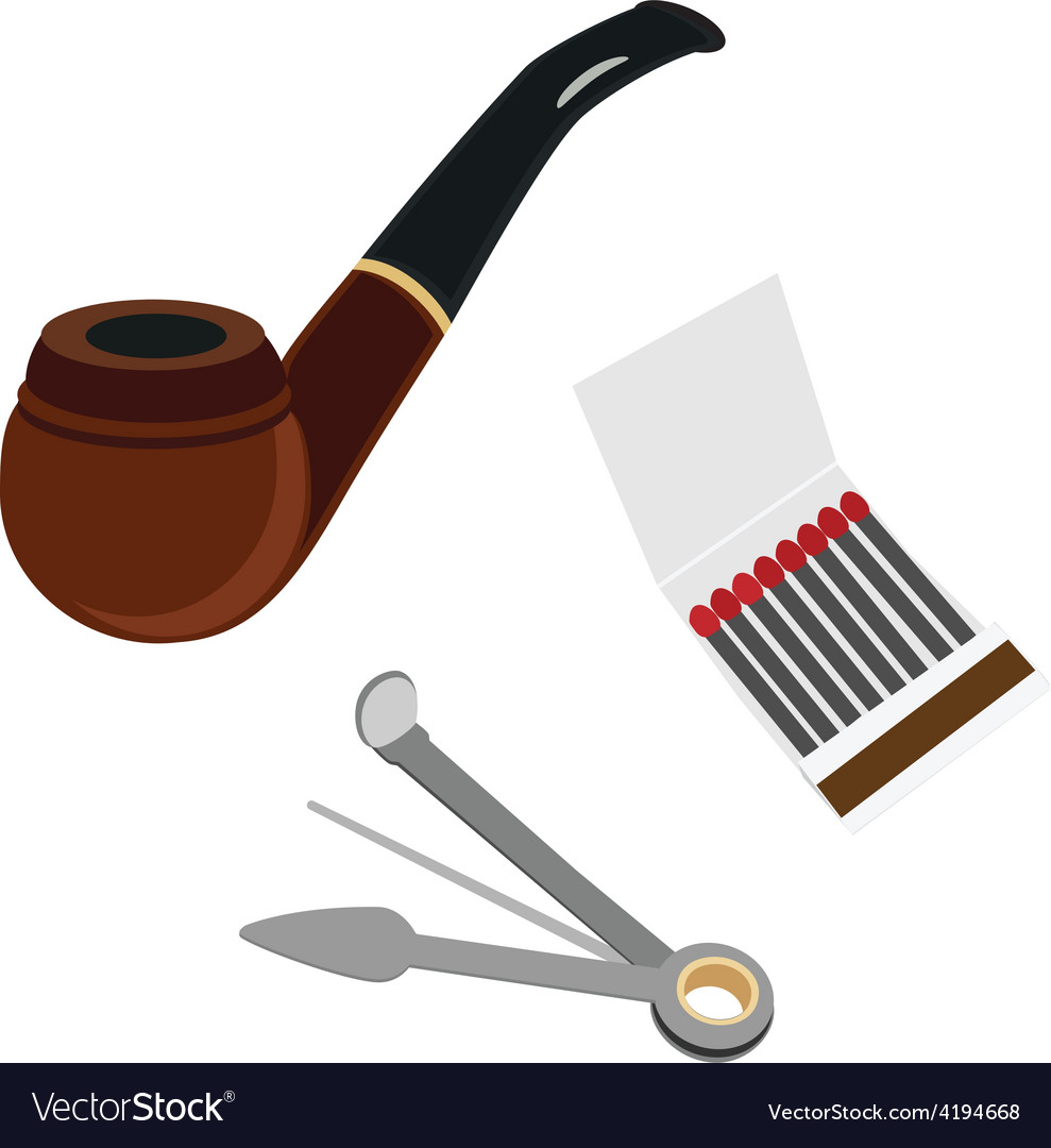 Smoking pipe cleaning tool and matchsticks vector image