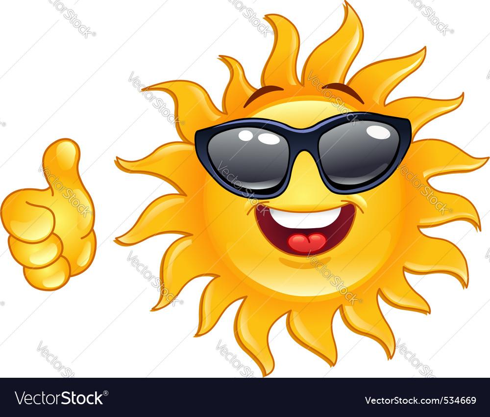 Thumb up sun vector image