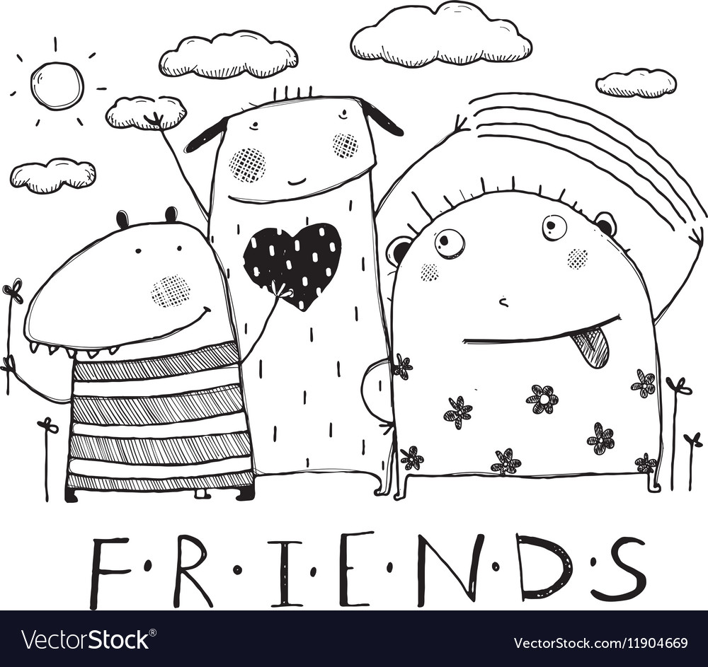 Adorable monsters friends outline black and white vector image