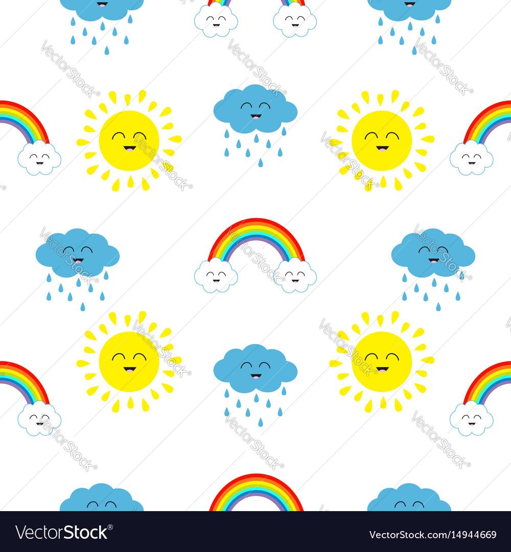 Cute cartoon kawaii sun cloud with rain rainbow vector image