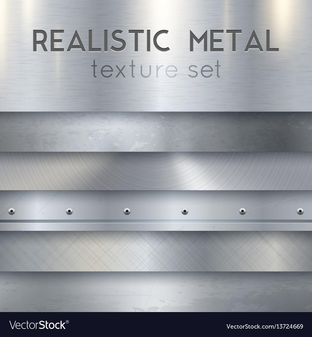 Metal texture realistic horizontal samples set vector image