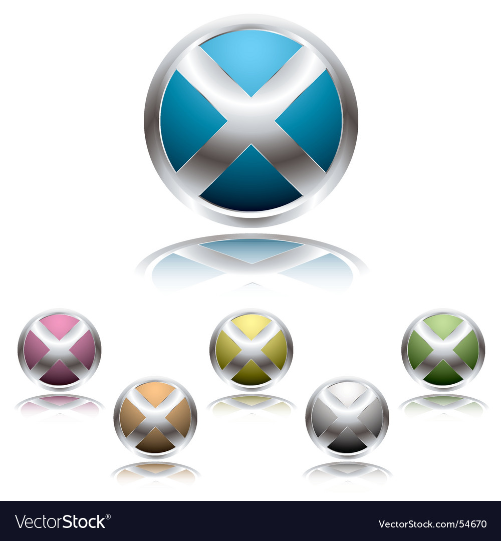 Cross button shadow vector image