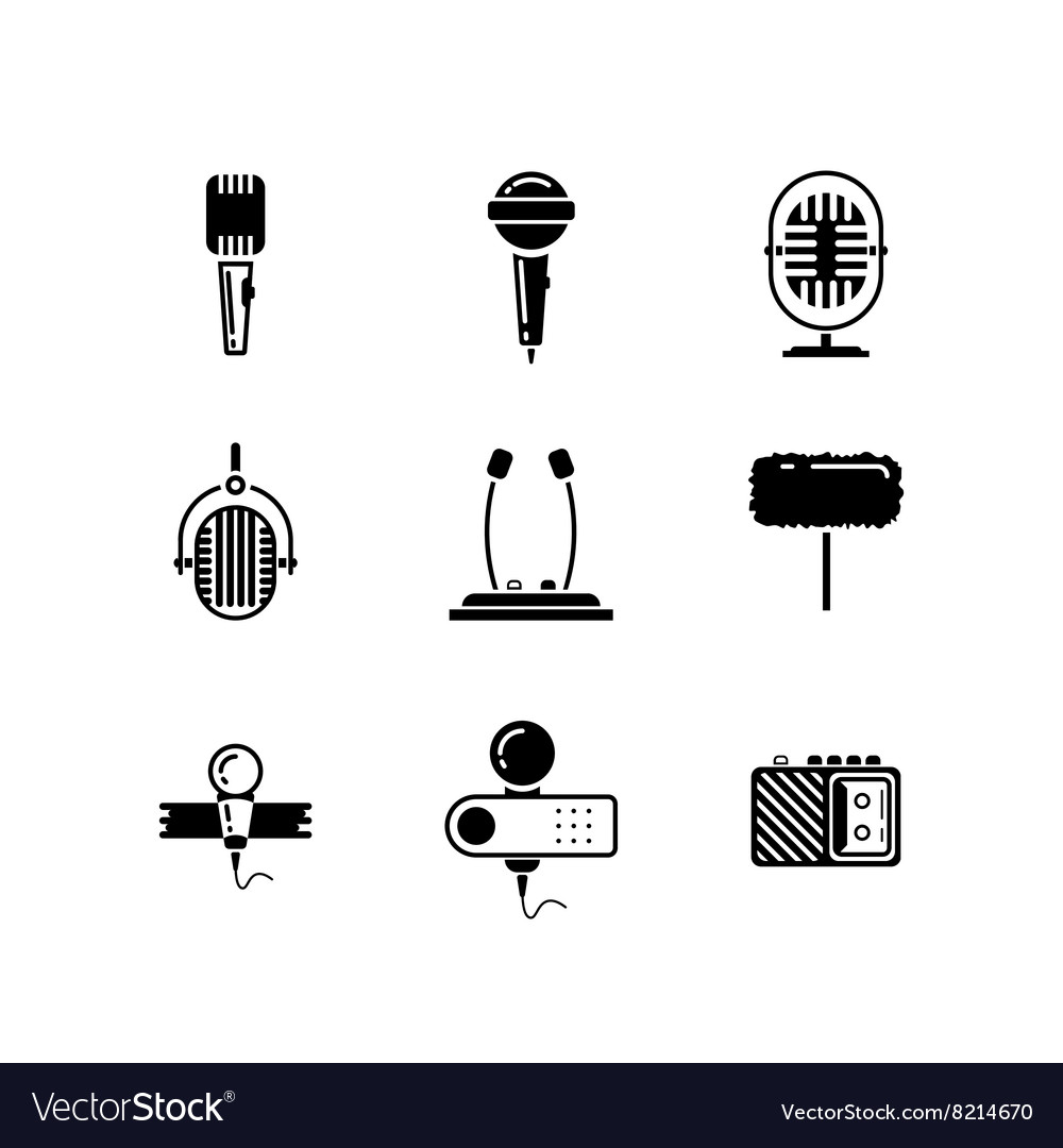Microphone black icons set vector image