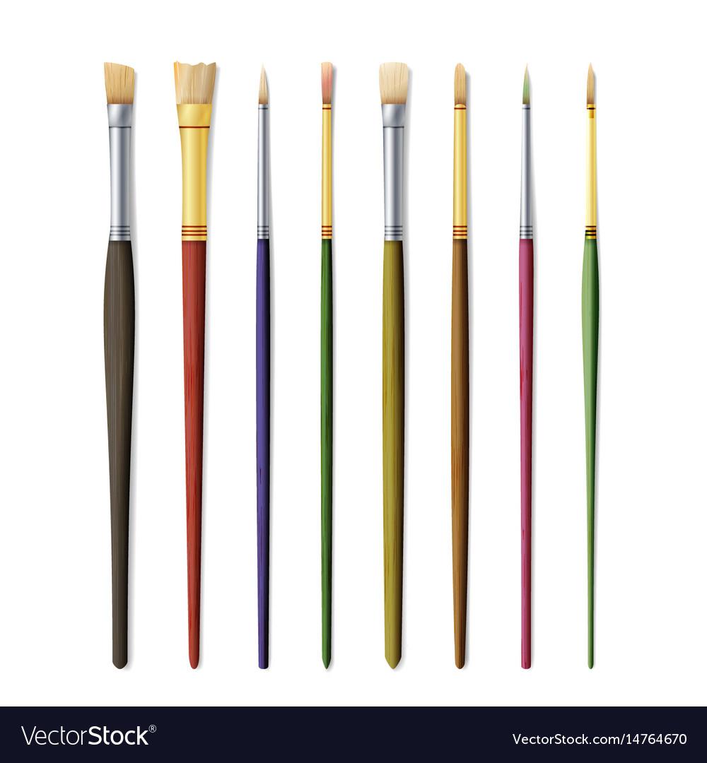 Realistic artist paintbrushes set paint brush set vector image