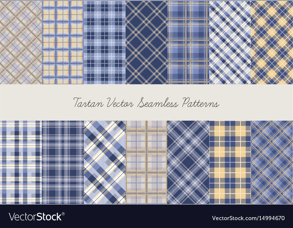 Tartan seamless patterns in blue-yellow colors vector image