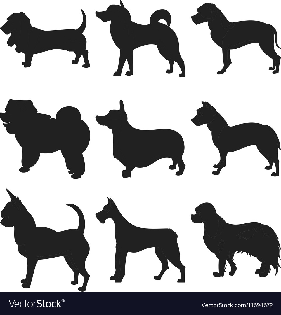 Dog Silhouettes EPS 8 grouped for easy vector image