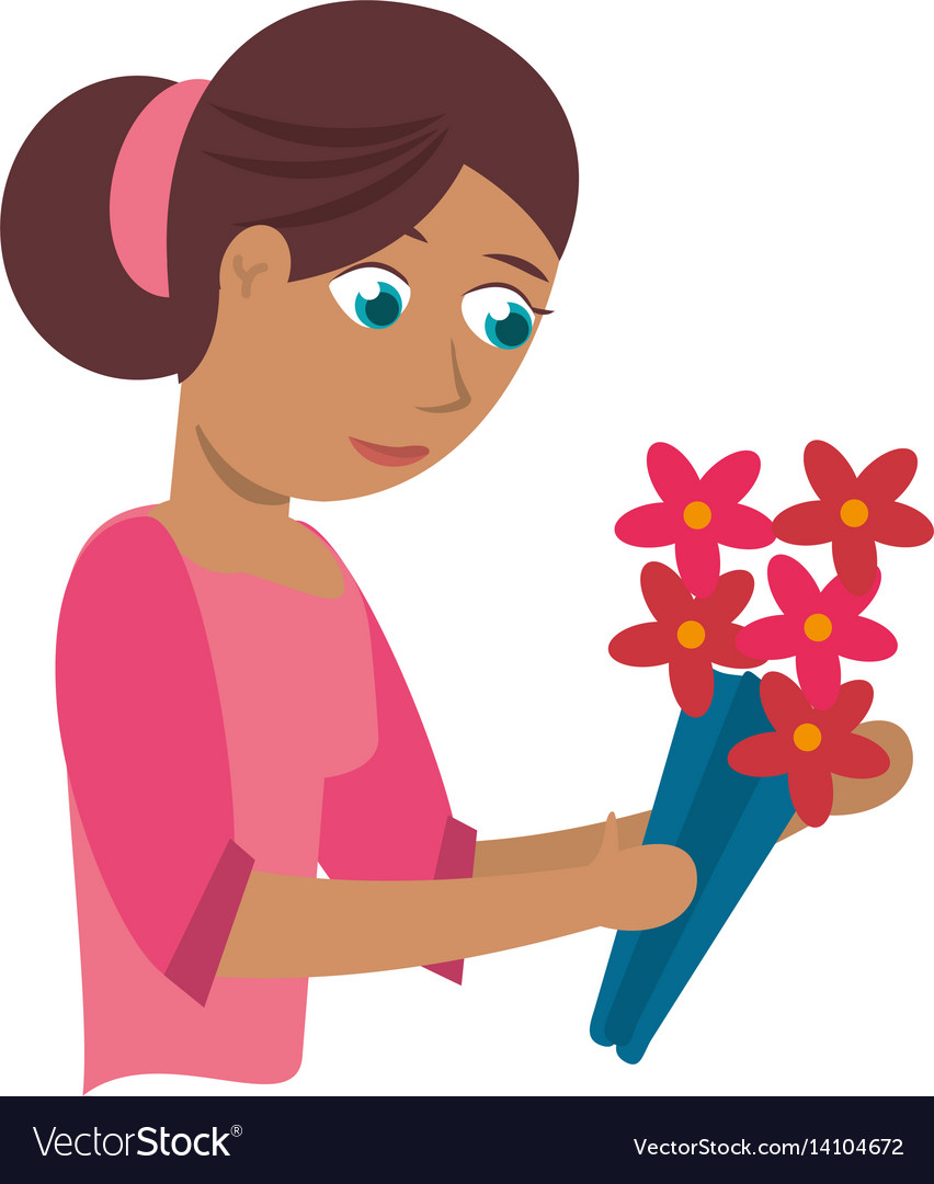 Mother with flower decoration vector image