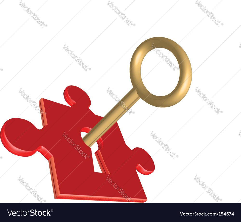 Puzzle key vector image