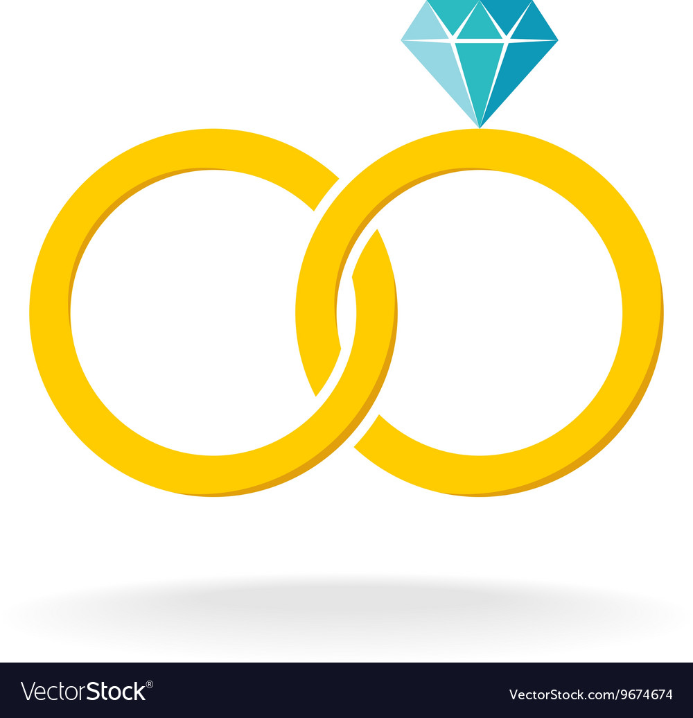 Wedding rings logo Two golden crossed rings with vector image