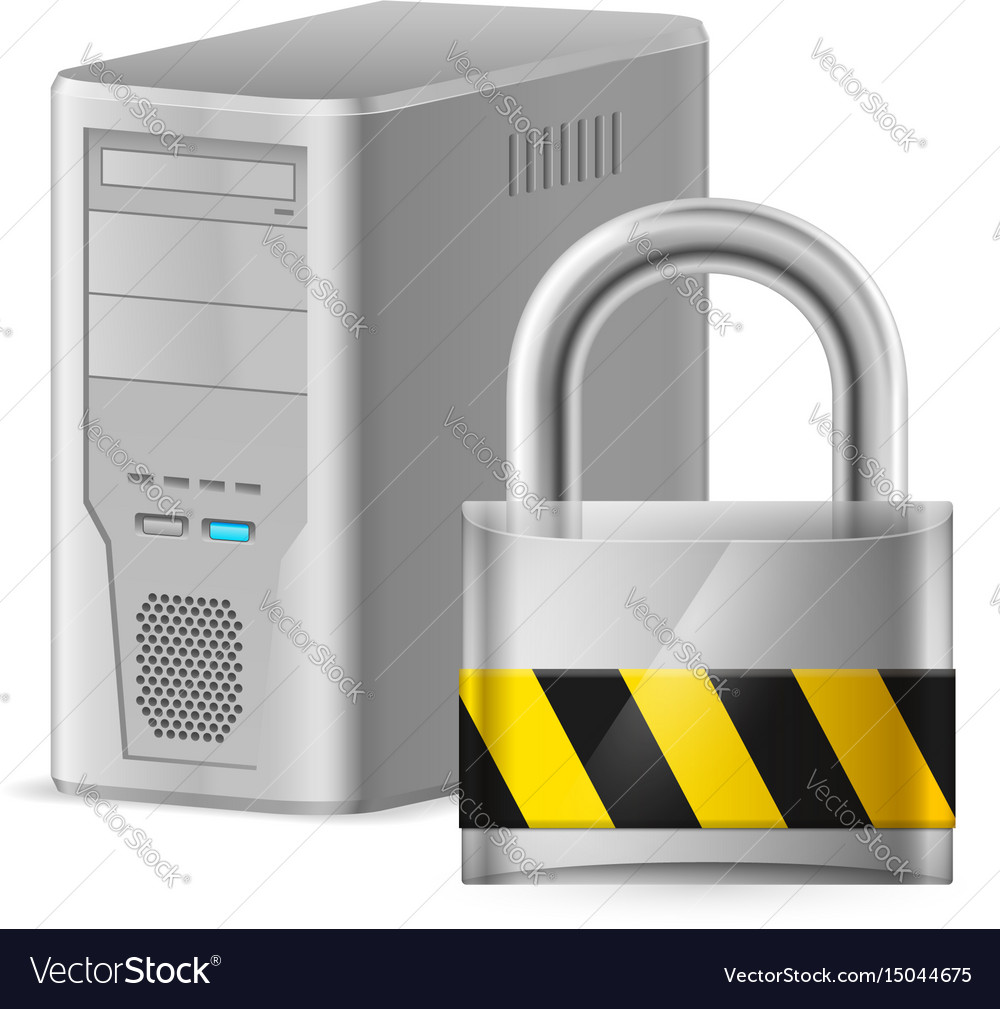Padlock and gray case of computer of designer on vector image