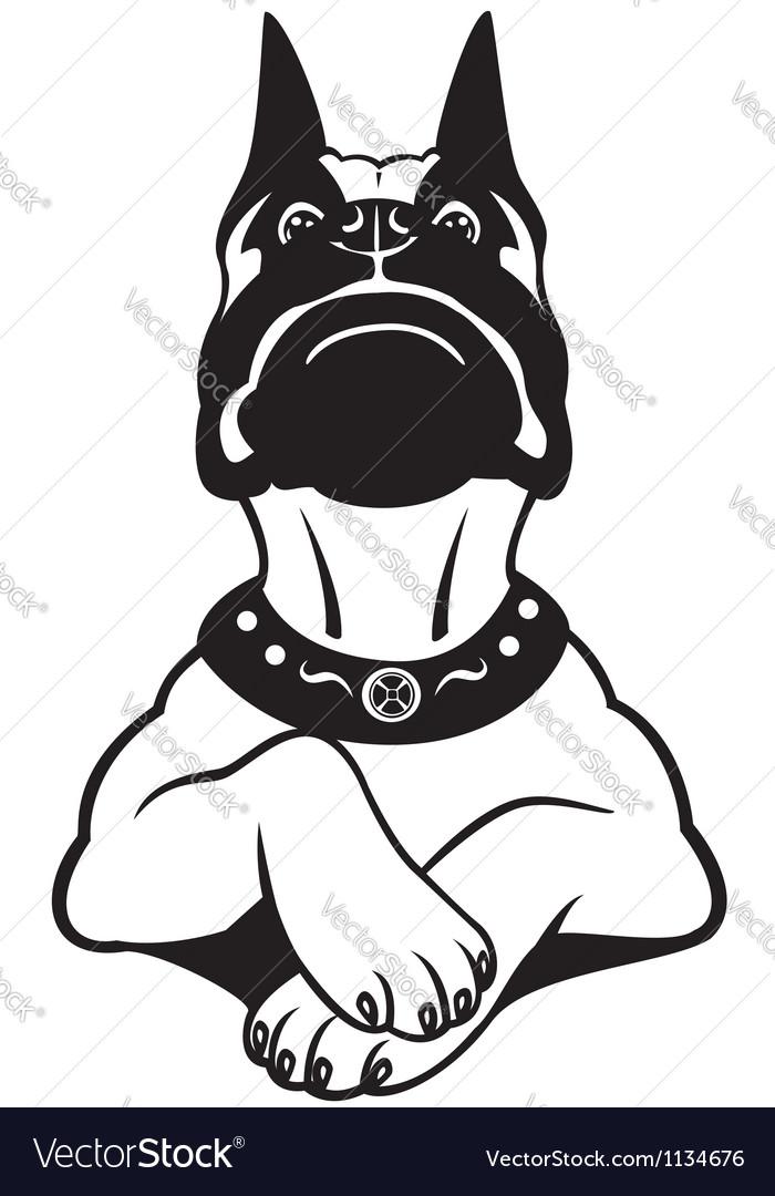 Cartoon boxer black white Vector Image
