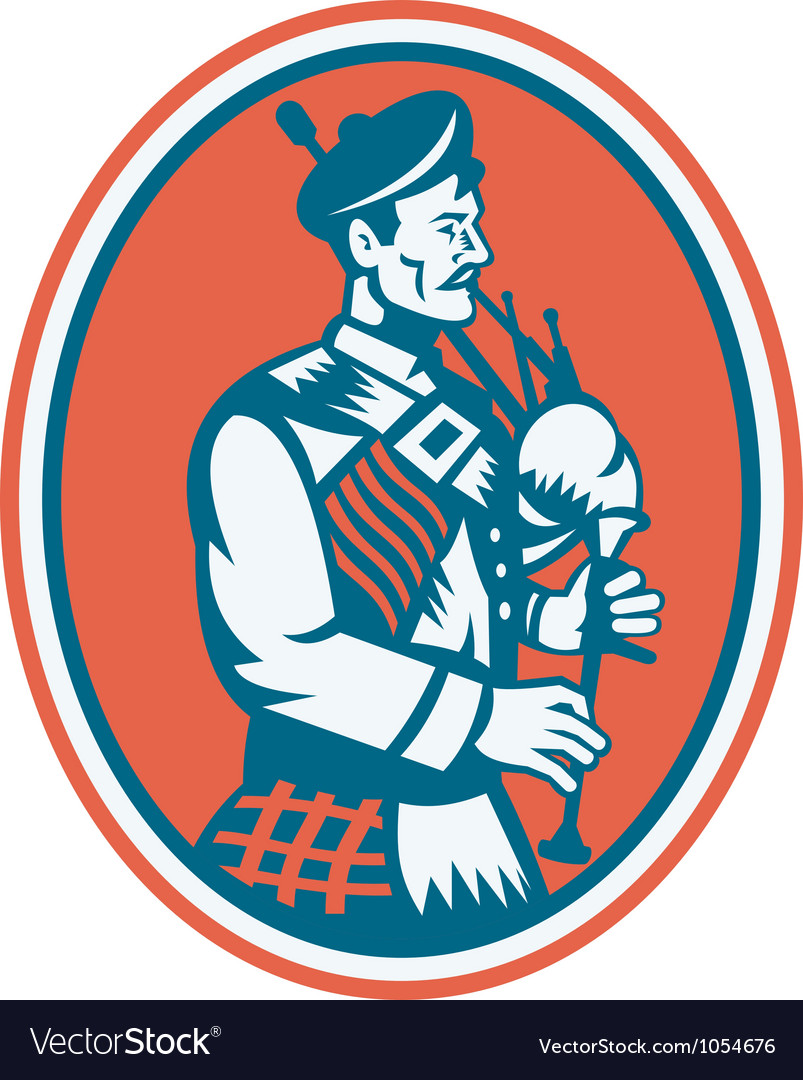 Scotsman Scottish Bagpipes Retro vector image