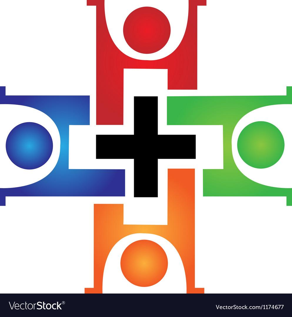 Medical teamwork logo vector image