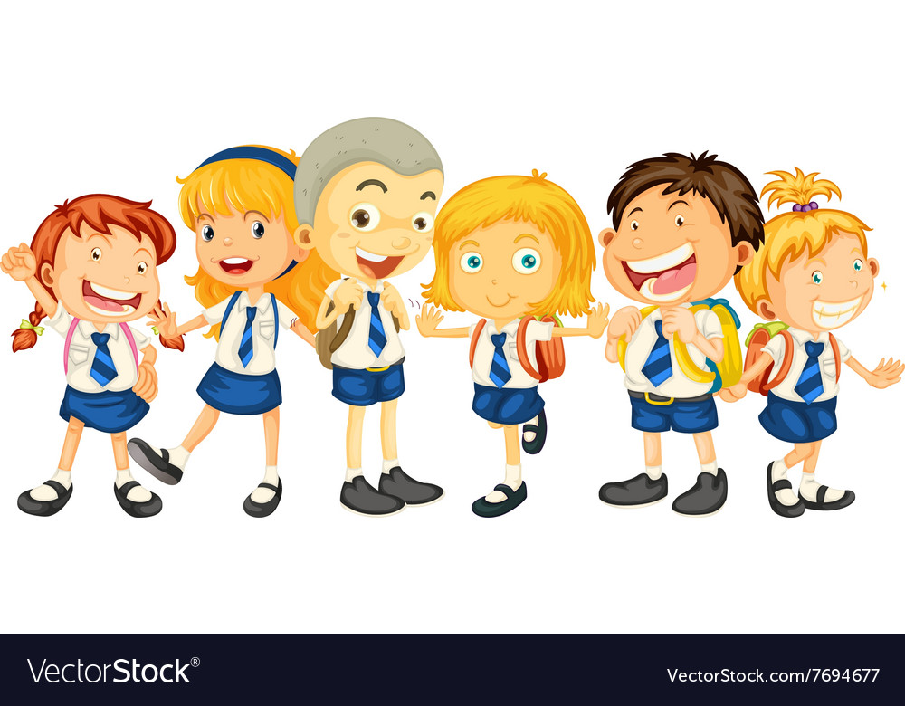 Boys and girls in school uniform vector image