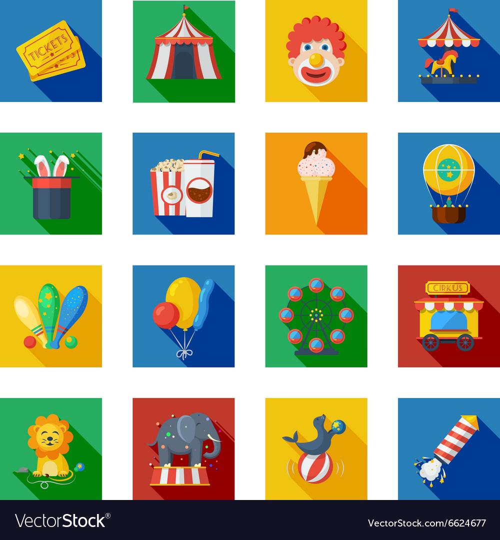 Circus icons flat vector image