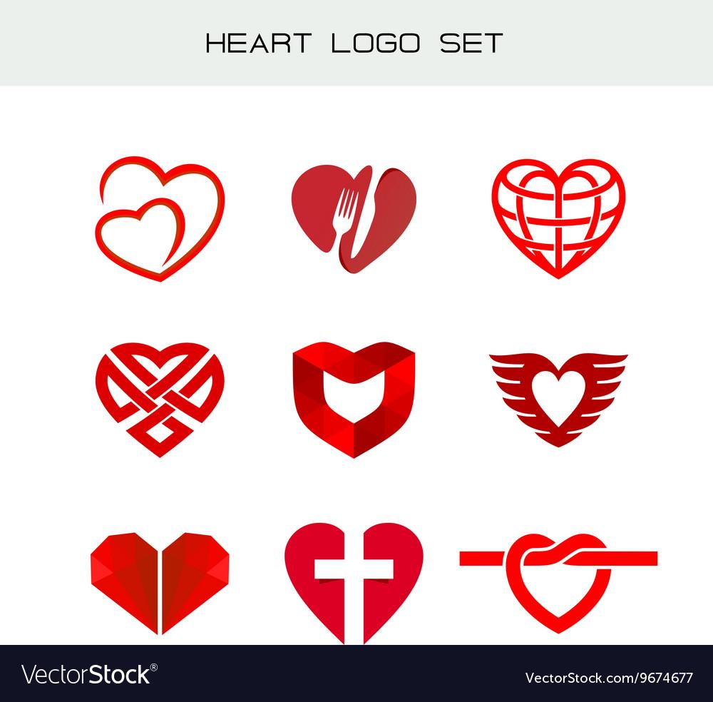 Heart logo set red heart symbols heart icon for vector image heart logo set red heart symbols heart icon for vector image biocorpaavc