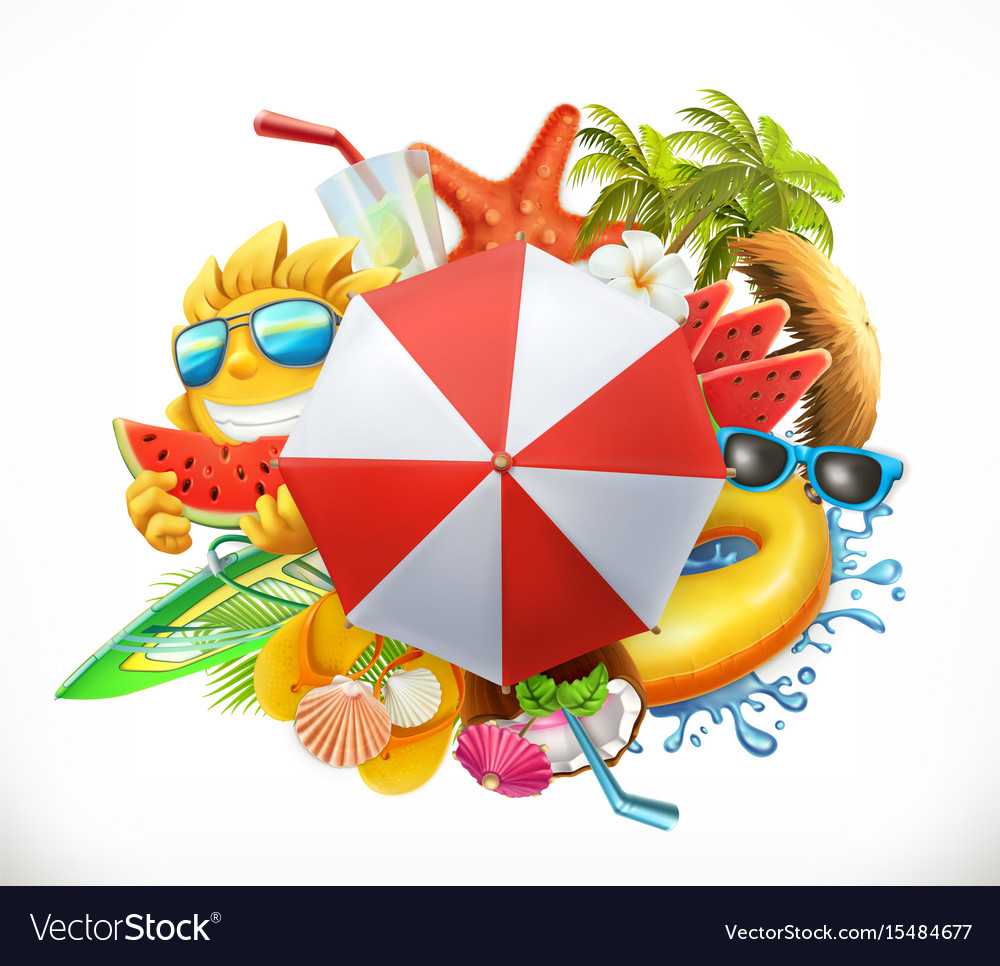 Summer beach set 3d icon vector image