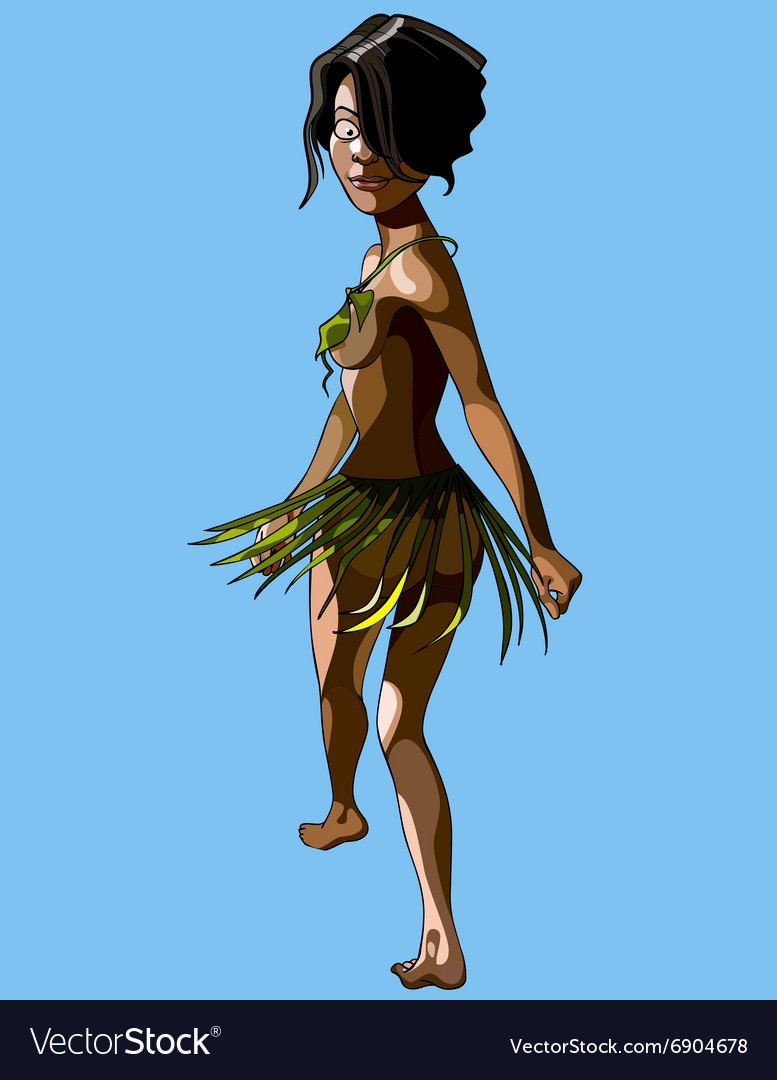 Cartoon islander woman in a skirt and bra leaves vector image