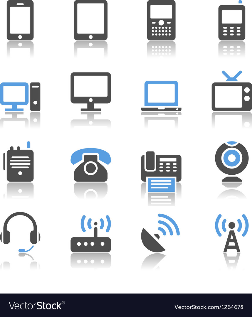 Communication device icons reflection vector image
