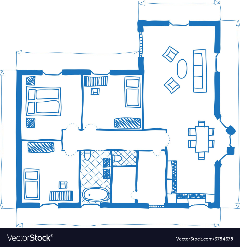 Floor plan of house doodle style Royalty Free Vector Image