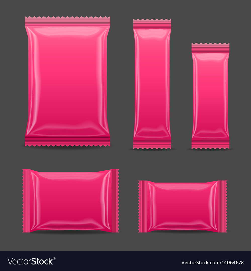 Pink blank foil food snack pack for chips spices vector image