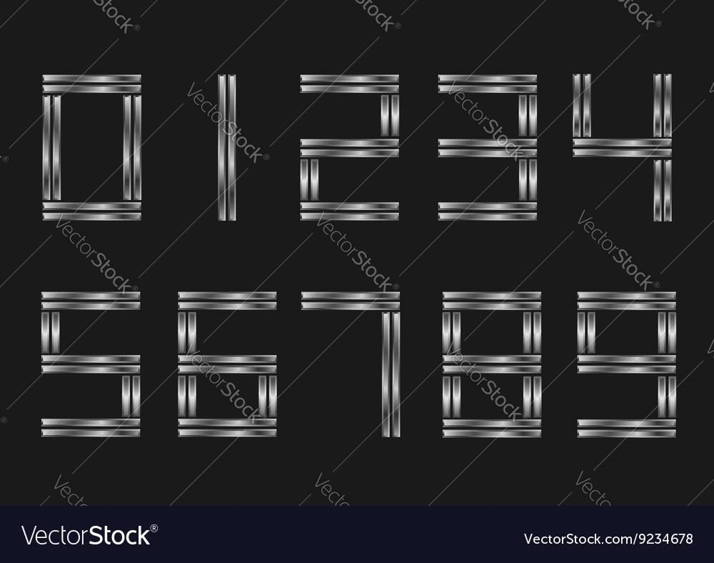 Silver metal numbers vector image