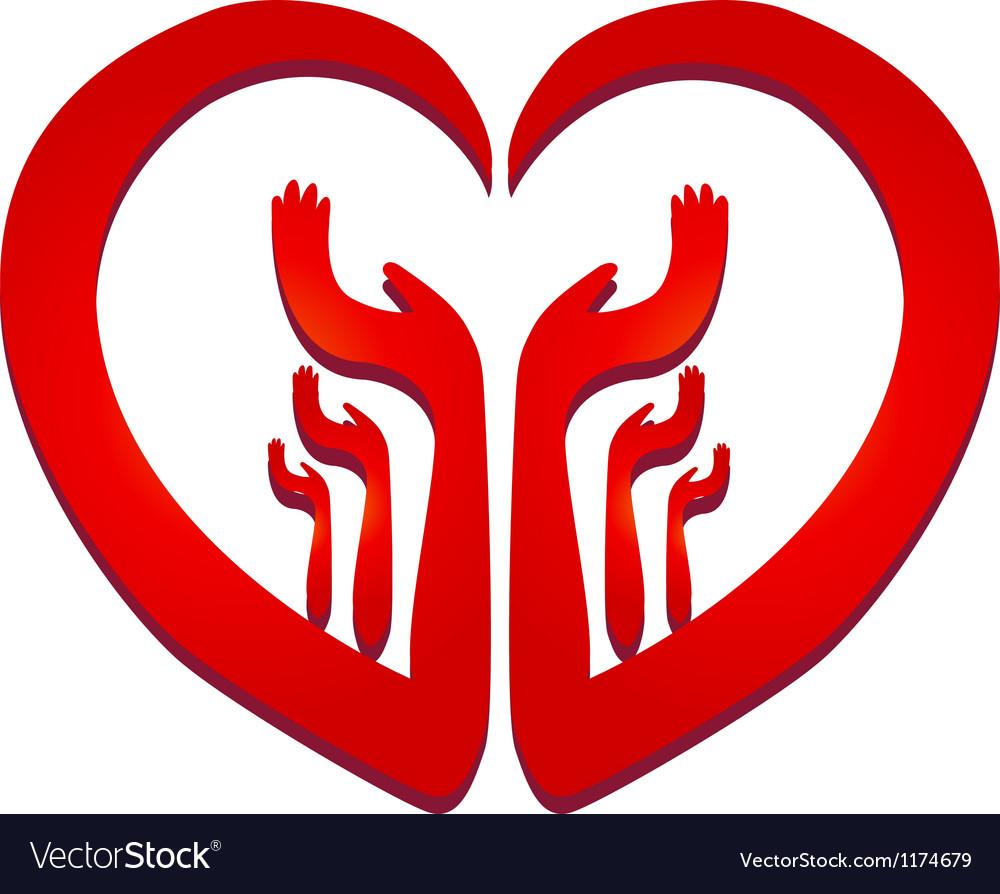 Hands in a heart logo vector image
